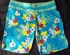 GUL LADIES/GIRLS BLUE FLOWER BOARD SHORTS BOARDIES LONG SHORTS BNWT 14-16