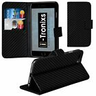 Leather Stand Wallet Carbon Case Cover + Screen Protector For Samsung Models