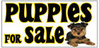 PUPPIES FOR SALE Vinyl Banner advertising Sign. Full color 2x4 ft, 2x6, 3x10