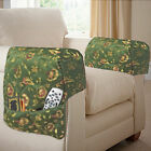 Quilted Jacquard Arm Caps Protectors with Storage Pockets Arm Chair Sofa, Green