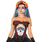 Sexy Sugar Skull Bustier Corset Women''s Halloween Party Costume LA-85347