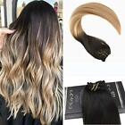 Fashion 8A Ugea Balayage Clip In Human Hair Extensions Black and Brown to Blonde