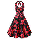 Floral Print Women Pinup Vintage Halter Dress Sleeveless Cocktail Party Dresses