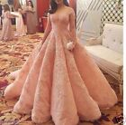New Pink Lace Applique Long Evening Dresses Formal Wedding Party Ball Prom Gown
