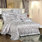 Luxury Grey Floral Satin Jacquard Egyptian Cotton Queen King Size Quilt CoverSet