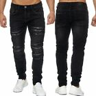 Herren Ripped Jeans ANARCHY Biker Löcher Risse Destroyed Regular Fit Tapered Wow