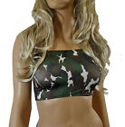 BOOB TUBE TOP Black Green White CAMO Stretch BANDEAU Club Party NEW Womens B63