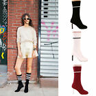 LADIES WOMENS HIGH HEELS ANKLE BOOTS CASUAL FASHION STRETCHY CHELSEA SHOES SIZE