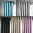 PAIR OF VELVET SPARKLE GLITTER FULLY LINED EYELET RING TOP CURTAINS 5 COLOURS