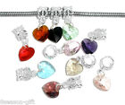 Wholesale Lots Mixed Imitation Heart Crystal Glass Faceted Dangle Beads 24x10mm