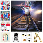 Harley Quinn Complete Full Set Costume Jacket T Shirt Shorts Boots Accessories