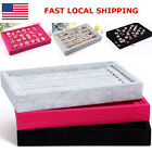 Durable Ring Earrings Jewelry Organizer Box Velvet Tray Holder Display Show Case