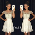 White Short Chiffon Prom Dresses Teens Homecoming Cocktail Evening Party Dresses
