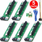 5PCS USB 3.0 PCI-E Express 1x To 16x Extender Riser Card Adapter Power BTC Cable