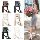 LADIES WOMENS BLOCK HIGH HEEL LACE UP PARTY EVENING SUMMER FASHION SANDAL SHOES