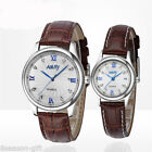 NARY Calendar Dial Leather Quartz Watch Mens Wrist Watches Couple Watches HX