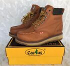 """Cactus Men Brown 6"""" Leather Work Boots Oil Resistant 627M Sizes Comfort Fit"""