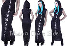 Restyle Moon Phases Hooded Digital Print Black Nu Goth Occult Long Maxi Dress