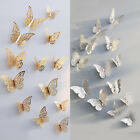 12pcs/set Gold/silver 3d Diy Wall Sticker Butterfly Home Room Decor Decoration T