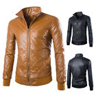 New Fashion Men's Collar Leather Jackets Motorcycle Coats Winter Trench Coats