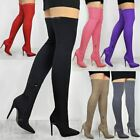 Womens Ladies Lycra Long Over The Knee Thigh Boots Stretch High Heel Bali Size