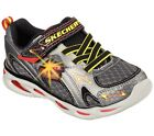 New Boys Youth Skechers S Lights Ipox Rayz Shoes Style 90386L Gunmetal/Red 23o