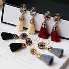 Women Vintage Rhinestones Crystal Tassel Drop Stud Earrings Dangle Party Jewelry