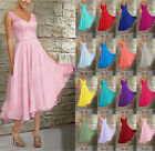 STOCK New V-neck Tea Length Evening Dress Bridal Gown Bridesmaid Dress Size 6-24