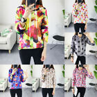 Womens Floral Hooded Sweater Long Sleeve Pullover Jumper Cotton Coat Outwear Top