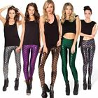 Women Fish Scale Mermaid Leggings Strong Stretch Printed Skinny Pants Trousers