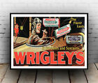 Wrigley's : Vintage chewing gum advertising , Wall art , poster, Reproduction.