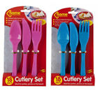 18pc PLASTIC CUTLERY SET PICNIC BARBEQUE CAMPING PINK OR BLUE KNIFE FORK SPOON
