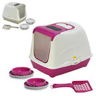 Large Cat Hooded Litter Tray + 2x Non Slip Bowls + Scoop Toilet Loo Covered UK