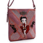 Betty Boop embroidered pink cross-body messenger bag red gown studs rhinestones $26.51 USD