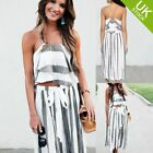 Women 2 Piece Set Stripe Print Backless and Wide Leg Long Pnat Casual Style Grey