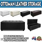 Large Blanket Box Ottoman Storage PU LEATHER Foot Stool Toy Chest Seat Bench