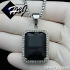 "18-36""MEN Stainless Steel 3mm Silver Box Chain Necklace Black Onyx  Pendant*P103"