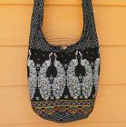 Thai Hippie Hobo Shoulder Bag Crossbody Sling Elephant Etc. Medium Main Black