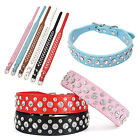 Bling Rhinestone Crystal PU Leather Dog Pet Neck Strap Cat Collar Chic 1PC