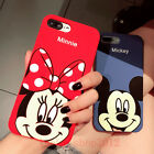 For iPhone Cute Mickey Minnie Rugged Silicone Shockproof Case Cover&Ring Holder