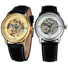 Crown Carved Hands Sport Leather Strap Men Automatic Skeleton Mechanical Watch