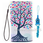 #4 NEW Cartoon Flower Leather slots wallet pouch bag cover case with 2 straps #t