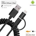 USB Type C / Lightning / Micro 3 in 1 Charging Cable Multiple Coiled Spring Cord