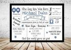 Personalised Word Art Day/Year you was born Print Keepsake gift 30th 40th 50th