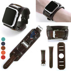 Vintage Style Distressed Cuff Leather Watch Band Strap For Apple watch 38 42MM
