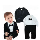 UK 2Pcs Coat&Romper Newborn Baby Boy Kid Wedding Tuxedo Formal Suit Photo Outfit