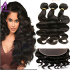 Brazilian Virgin Human Hair Extensions 13*4 Lace Frontal Closure with 3 Bundles