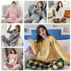Women Warm Flannel Pajamas Set Cute Soft Autumn Winter Sleep Cloth Fall Gift New