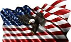 Waving USA Flag Eagle Printed Vinyl Decal Sticker for Car Truck Cornhole Phone