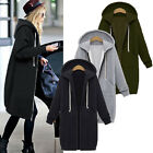 Winter Womens Long Sleeve Hooded Cardigan Zip Up Jacket Coat Plus Size Vertvie